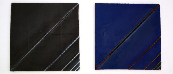 "Jay Dort, crepuscular I&II, oil paint on ceramic, 24""x24"" x 2, 2012"