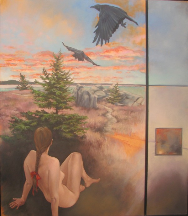 "Ed Huner, Spring Rising, 2012, oil on canvas diptych, 36"" x 24"" and 36"" x 7"""