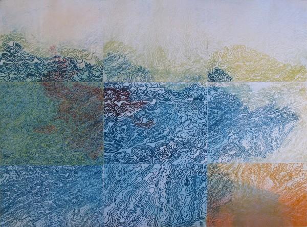 "Bonnie Baker, Convergence, monoprint, multiple polymer plates, 22""x30"",  2011"