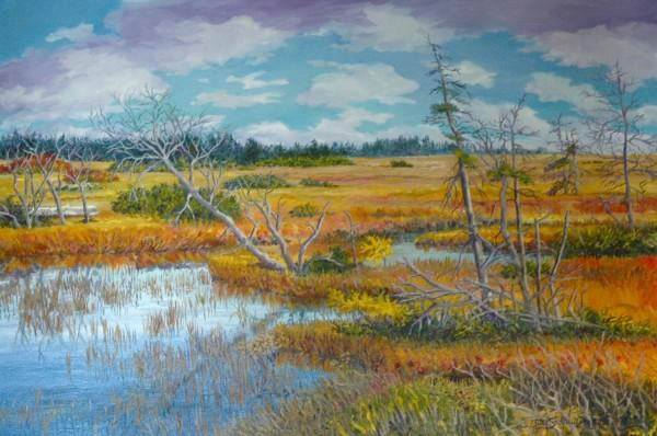 """Joy Laking, Autumn Marsh, oil painting 2013, 34"""" x 36"""""""