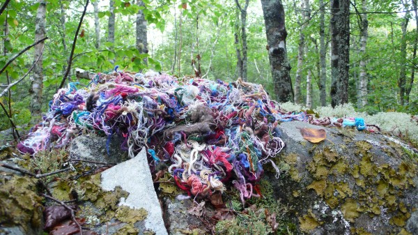 """Threads,"" wool, linen and cotton threads, installation on the artist's property"