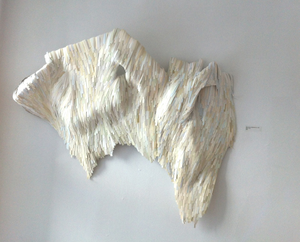 "Erin Jaeger-Freeborn, Shades of Off White, paper and foam, 3' x 2' 6"", 2014"