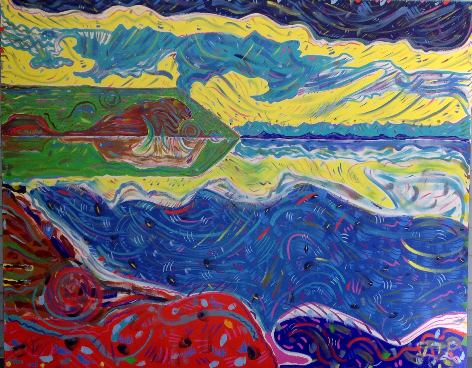 "Judith J. Leidl, ""Cape Blomidon: Spring"", 48 inches by 64 inches, acrylic on gallery canvas, 2014"