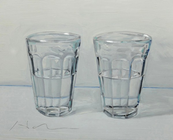 "Harry Hamm, ""The Half Full Glass"". Oil on board 9 ½"" x 7 ½"""