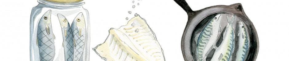"""Kat Frick Miller, Fish Trilogy, watercolour, 11"""" x 14"""","""