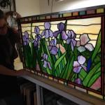 "Purple Irises Tiffany Style American Opalescent 18""x32"" 2014"
