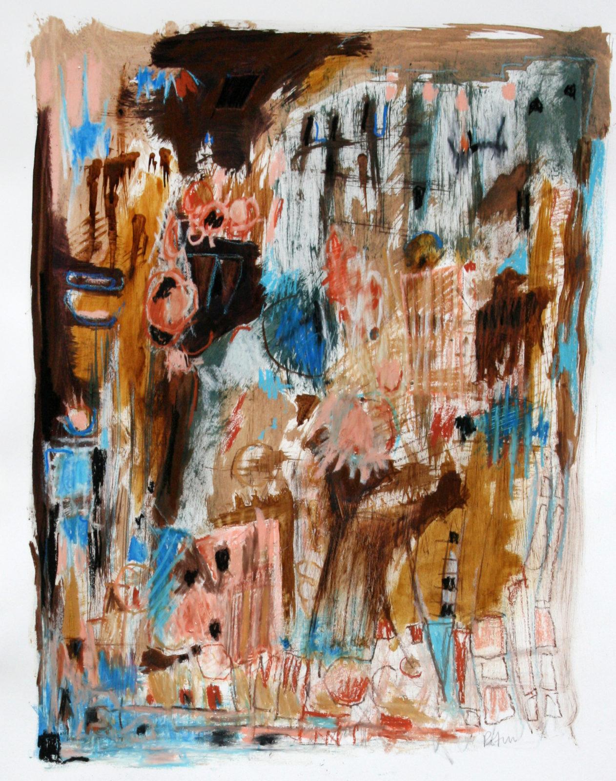 "Lynn Rotin, ""Downtown"", mixed media on paper, 30"" x 24"", 2014"
