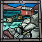 """Prospect Boathouse Glass, painted, engraved, lead came 24"""" square 2014"""