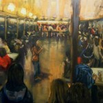 "Jack Ross, ""Crowded Bar"", oil on canvas, 4x6 ft. 2011."