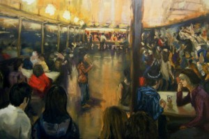 """Jack Ross, """"Crowded Bar"""", oil on canvas, 4x6 ft. 2011."""