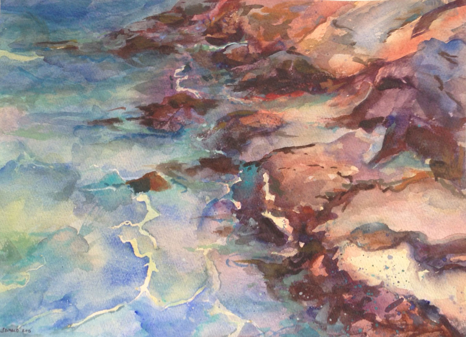 "Susan MacDonald, ""Rocky Shore"", 11""x14"", watercolour, 2015."
