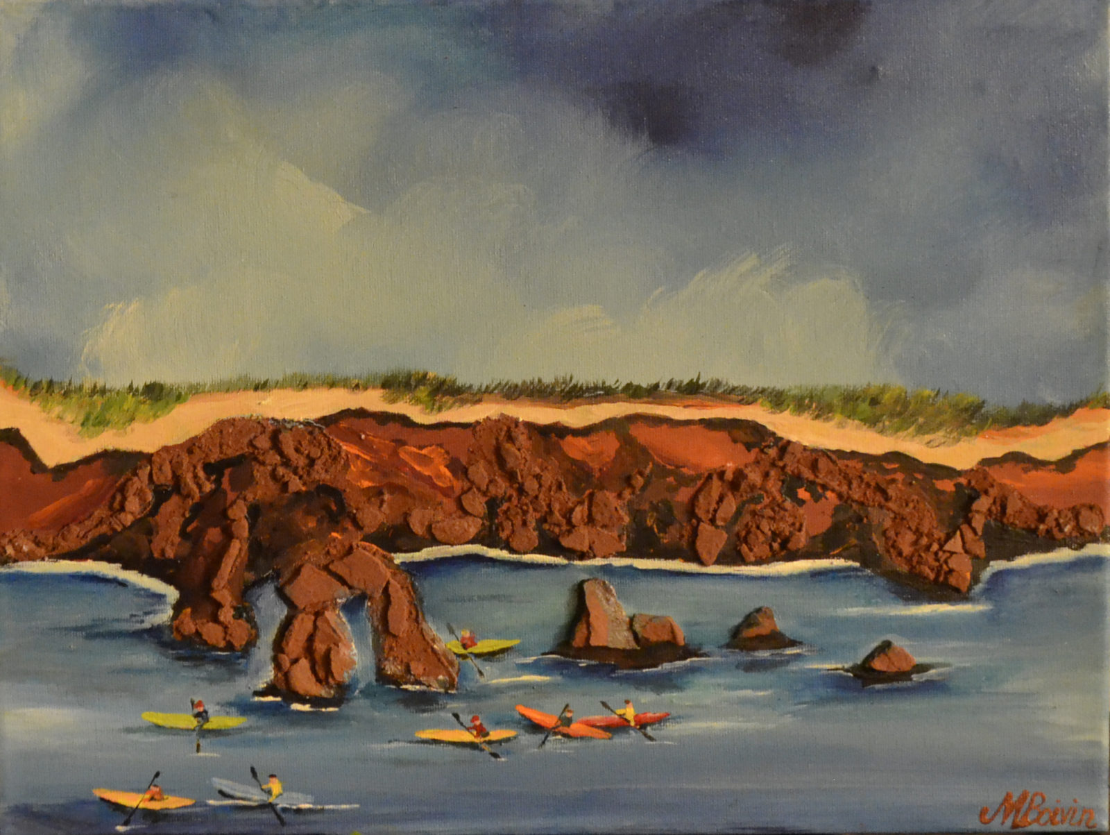 """Margareta Boivin, """"The Charming PEI (Based on the nonexistent remains of the Old Elephant Rock)"""", acrylic and red sandstone, 2015"""