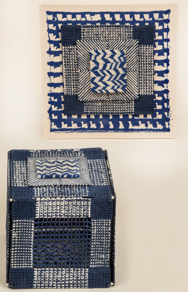 "Alexandra McCurdy, ""Blue Box with Herringbone and Wallpiece"", Porcelain, wire and beads as connectors. Box 13X13X13cm, Wallpiece 19X19X19cm. Photo: Steve Farmer"