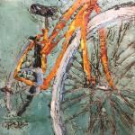 Orange Cruiser, 6x6, encaustic on Russian birch gallery panel, 2017
