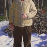 "Ken. Oil on canvas. 72X36"". This is a portrait of my husband burning fallen branches in our woods."