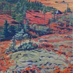 "Peggy's Cove lighthouse from Pollys Cove Trail. Oil on canvas. 48X24""."
