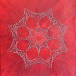 String Theory, 12x16, acrylics/yarn on canvas