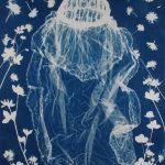 """The june Bride, cyanotype on paper, 27""""x36"""", 2018"""