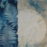 """Woodland - Ghost Trees 4 with Ferns, bleached cyanotype with relief print20""""x20"""", 2018"""