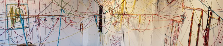 Directions for the Mind, ephemeral participatory installation, yarn, pins, 2017
