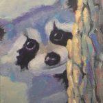 Peeking Raccoon   5 x 7 acrylic