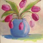 Tulips in A  Blue Vase   12 x 12 acrylic